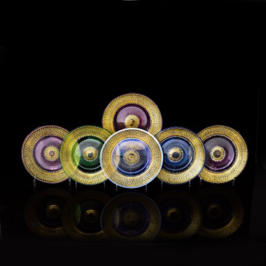 View 1. Thumbnail of Lot 32.  A HARLEQUIN SET OF SIX GILT AND ENAMELLED COLOURED-GLASS PLATES, BROCARD, CIRCA 1885.