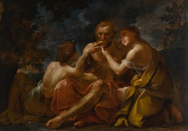 View 3. Thumbnail of Lot 643. Susanna and the Elders; Lot and His Daughters.