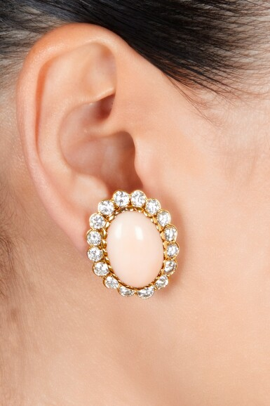 View 2. Thumbnail of Lot 55. Van Cleef & Arpels | Pair of Coral and Diamond Earclips.