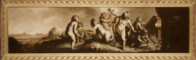 View 2. Thumbnail of Lot 38. CIRCLE OF MOYSES VAN WTENBROUCK | A group of putti in a landscape playing blind man's bluff.