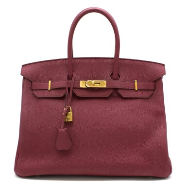 Birkin 35 Tosca Pink Colour in Togo Leather with gold hardware. Hermès. 2015.