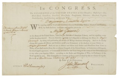 "View 1. Thumbnail of Lot 50. HANCOCK, JOHN, & BENJAMIN LINCOLN   Benjamin Lincoln's Commission as Major General, signed by John Hancock (""John Hancock"" with paraph) as President of Congress, 19 February 1777."