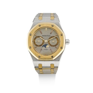 AUDEMARS PIGUET     ROYAL OAK, REFERENCE 25594SA.O.0789SA.01,  A STAINLESS STEEL AND YELLOW GOLD BRACELET WATCH WITH DAY, DATE AND MOON PHASES, CIRCA 1980