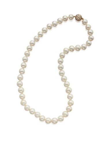 CULTURED PEARL AND DIAMOND NECKLACE, TIFFANY & CO