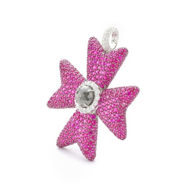 View 2. Thumbnail of Lot 12. MICHELE DELLA VALLE | RUBY AND DIAMOND PENDANT.