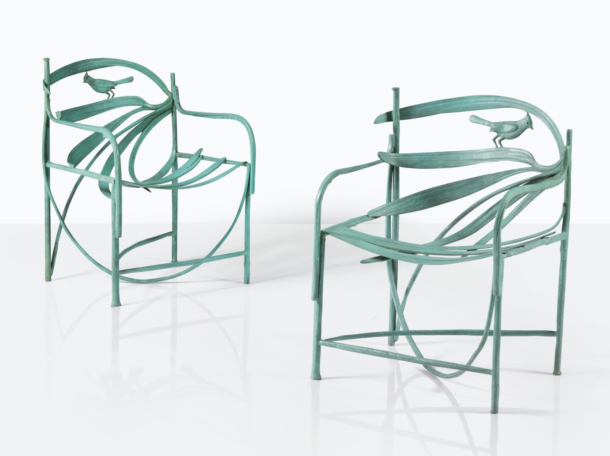 View full screen - View 1 of Lot 106. CLAUDE LALANNE | PAIR OF WILLIAMSBURG ARMCHAIRS  [PAIRE DE FAUTEUILS WILLIAMSBURG].