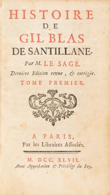 View 2. Thumbnail of Lot 78. Gil Blas. 1747. [Et:] Recueil des pièces... 1739. ensemble de 6 volumes aux armes de la comtesse de Provence..