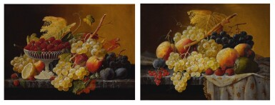 View 1. Thumbnail of Lot 8. SEVERIN ROESEN   STILL LIFE OF FRUIT WITH COMPOTE OF STRAWBERRIES AND STILL LIFE WITH FRUIT AND EMBROIDERED CLOTH: A PAIR OF WORKS.
