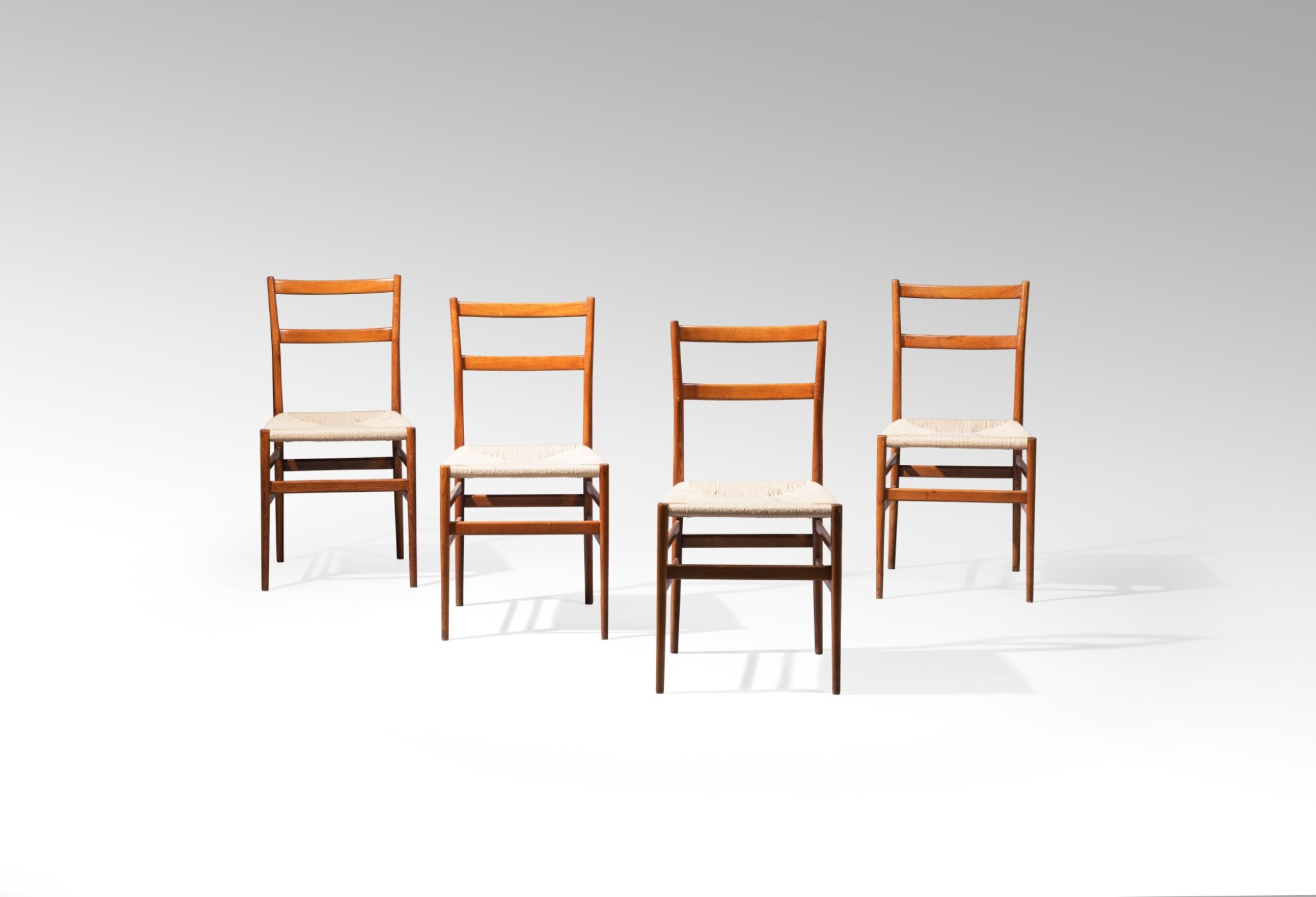 View full screen - View 1 of Lot 2. Four Superleggera chairs, model no. 699, designed in 1957     .