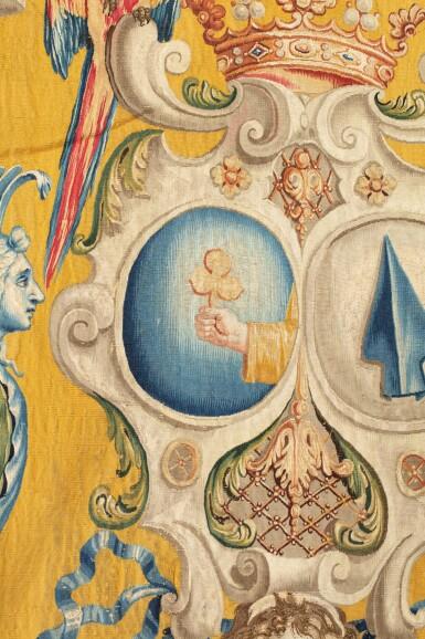 View 3. Thumbnail of Lot 22. A PAIR OF LOUIS XIV TAPESTRIES PORTIÈRES, PROBABLY LILLE, WORKSHOP OF GUILLAUME WERNIERS   PAIRE DE PORTIÈRES AUX ARMES EN TAPISSERIE, PROBABLEMENT LILLE, ATELIER DE GUILLAUME WERNIERS, D'ÉPOQUE LOUIS XIV.