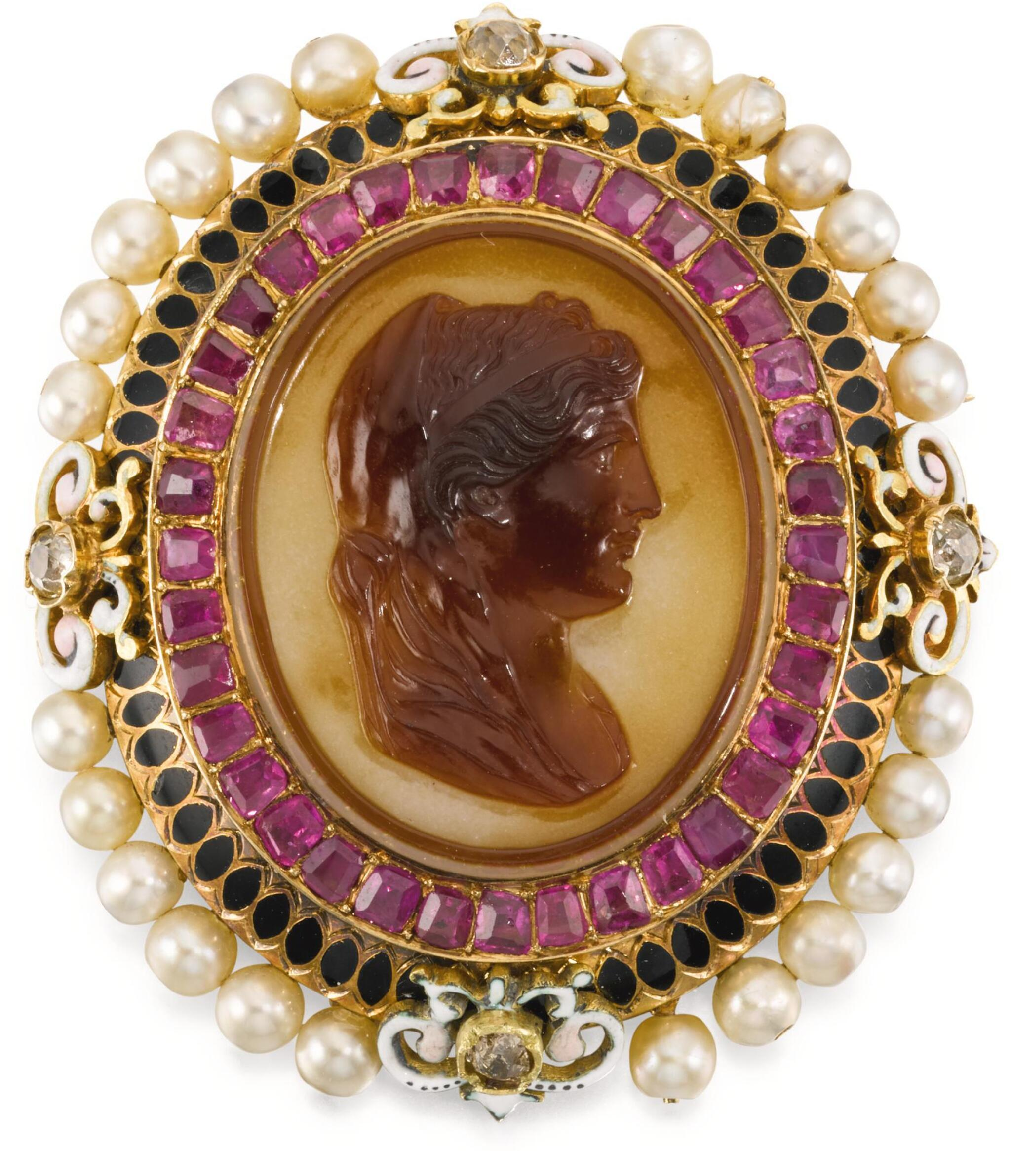 View full screen - View 1 of Lot 114. JOHAN GEORG (GEORGES) BISSINGER (1836-1912), FRENCH, PARIS, CIRCA 1870 | CAMEO WITH THE PROFILE OF A ROMAN WOMAN, PERHAPS A PTOLEMAIC PRINCESS.