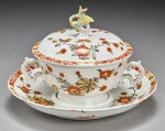 A MEISSEN TWO-HANDLED ECUELLE, COVER AND STAND CIRCA 1735