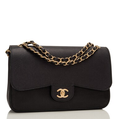 """View 2. Thumbnail of Lot 62.  Chanel """"Pure"""" Jumbo Double Flap Bag of Black Caviar Leather with Gold Tone Hardware."""
