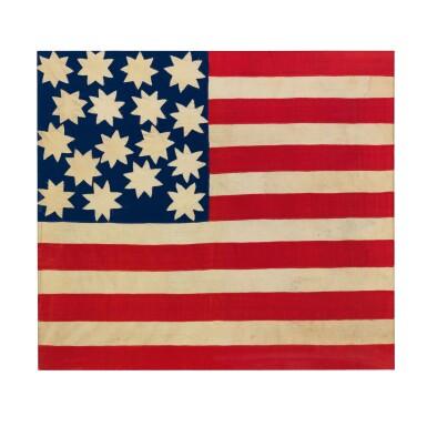 SEVENTEEN STAR FOLK ART AMERICAN FLAG
