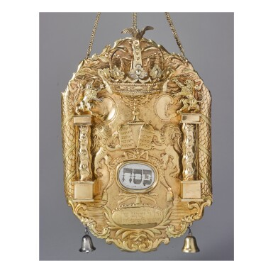 View 1. Thumbnail of Lot 53. A GERMAN SILVER-GILT TORAH SHIELD, MARKED IR, PROBABLY FOR JOHANN JACOB RUNECKE, FÜRTH, DATE LETTER M, LATE 18TH CENTURY.