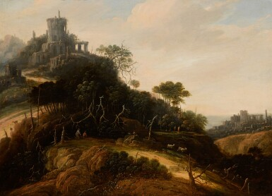 ABRAHAM BLOMMAERT | An imaginary mountainouslandscape, with figures, animals, and castle ruins beyond