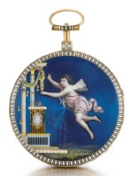GREGSON, À PARIS | A GOLD, ENAMEL AND DIAMOND-SET WATCH WITH ASSOCIATED GOLD AND ENAMEL CHATELAINE  CIRCA 1780