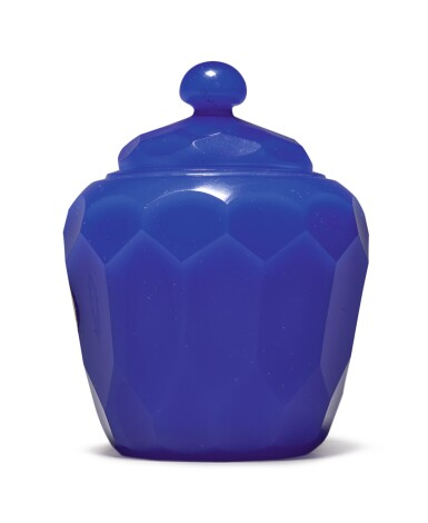 View 3. Thumbnail of Lot 1011. A FACETED ROYAL-BLUE GLASS JAR AND COVER, QING DYNASTY, 18TH CENTURY.