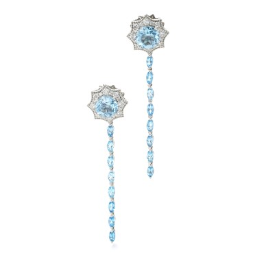 View 2. Thumbnail of Lot 131. JAMES GANH | PAIR OF TOPAZ AND DIAMOND EARRINGS.