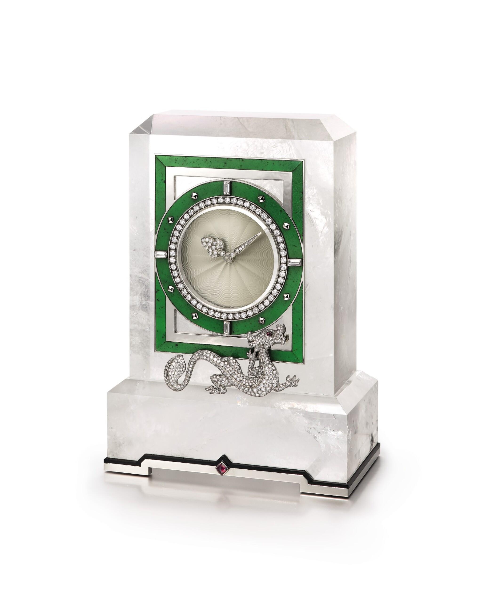 View full screen - View 1 of Lot 1661. Cartier | Rock Crystal, Enamel, Diamond and Hardstone Desk Clock | 卡地亞 | 白水晶, 琺琅彩 配 鑽石 及 硬石 座鐘.