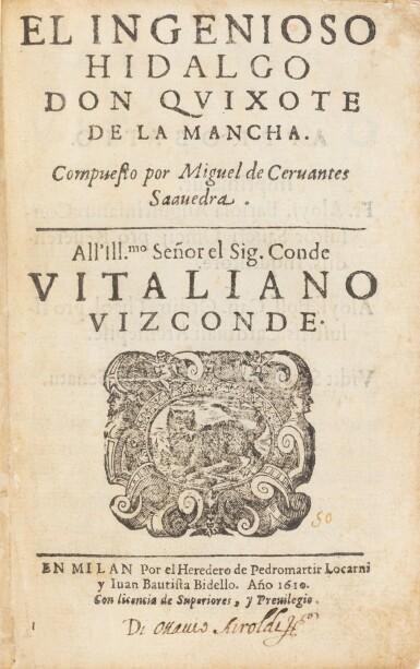 View 1. Thumbnail of Lot 16. El Ingenioso Hidalgo Don Quixote de la Mancha. Milan, 1610. Première édition publiée en Italie.
