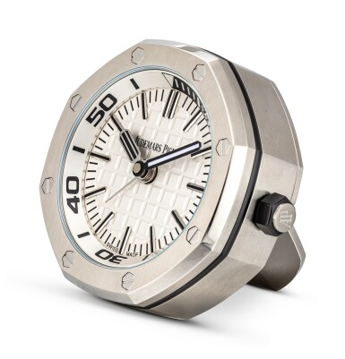 View 3. Thumbnail of Lot 108. AUDEMARS PIGUET   ROYAL OAK A STAINLESS STEEL ALARM DESK CLOCK WITH WOODEN STAND, CIRCA 2016.
