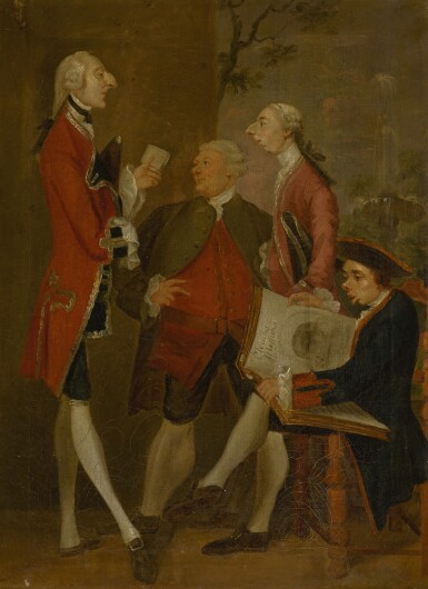 View 2. Thumbnail of Lot 57. AFTER SIR JOSHUA REYNOLDS | CARICATURE OF THOMAS BRUDENELL-BRUCE, 1ST EARL OF AILESBURY, THE HON. JOHN WARD, JOSEPH LEESON, LATER 2ND EARL OF MILLTOWN, AND JOSEPH HENRY OF STRAFFAN.