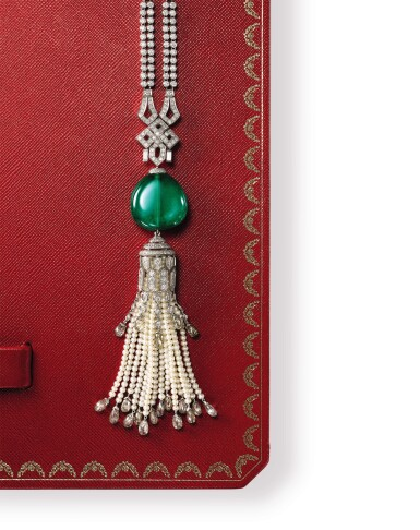 View 2. Thumbnail of Lot 1737. Cartier | Emerald, Seed Pearl and Diamond Pendent Necklace | 卡地亞 | 42.09克拉「哥倫比亞」祖母綠 配 珍珠 及 鑽石 項鏈.
