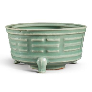 View 1. Thumbnail of Lot 115. A 'Longquan' celadon-glazed 'trigram' censer, Southern Song / Yuan dynasty   南宋 / 元 龍泉窰青釉八卦紋奩式爐.