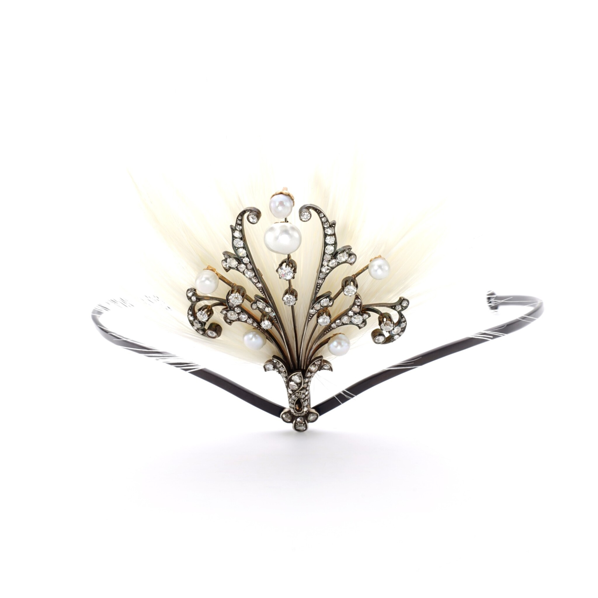 View full screen - View 1 of Lot 45. PEARL, DIAMOND AND FEATHER AIGRETTE, EARLY 20TH CENTURY.