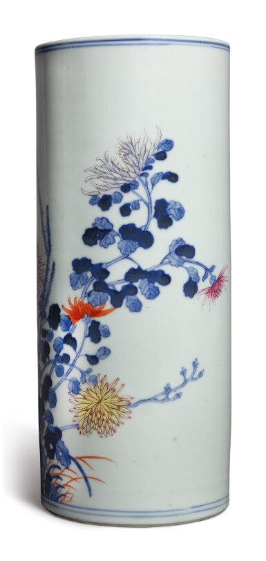 View 3. Thumbnail of Lot 1140. A BLUE AND WHITE AND FAMILLE-ROSE 'CHRYSANTHEMUM' HAT STAND, REPUBLIC PERIOD .