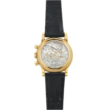 View 5. Thumbnail of Lot 30. PATEK PHILIPPE | REFERENCE 3970E  A YELLOW GOLD PERPETUAL CALENDAR CHRONOGRAPH WRISTWATCH WITH MOON PHASES AND LEAP YEAR INDICATION, MADE IN 1992.