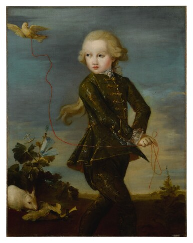 View 1. Thumbnail of Lot 526. Portrait of a boy of the Gradenigo family, possibly Ferigo (Born 1758), full length, with his pet dove on a ribbon, a white rabbit in the background.