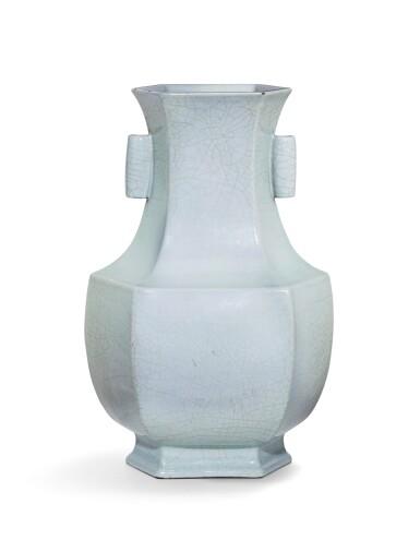 View 2. Thumbnail of Lot 58. An exceptional 'guan'-type archaistic hexagonal vase Seal mark and period of Yongzheng   清雍正 仿官窰天青釉六方貫耳尊《大清雍正年製》款.