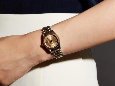 View 4. Thumbnail of Lot 8095. ROLEX   DATEJUST, REFERENCE 69173, A STAINLESS STEEL AND YELLOW GOLD WRISTWATCH WITH DATE AND BRACELET, CIRCA 1988.