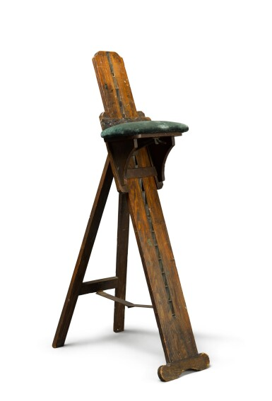 ENGLISH |  A PORTABLE OAK COMBINATION ARTIST'S CHAIR AND EASEL