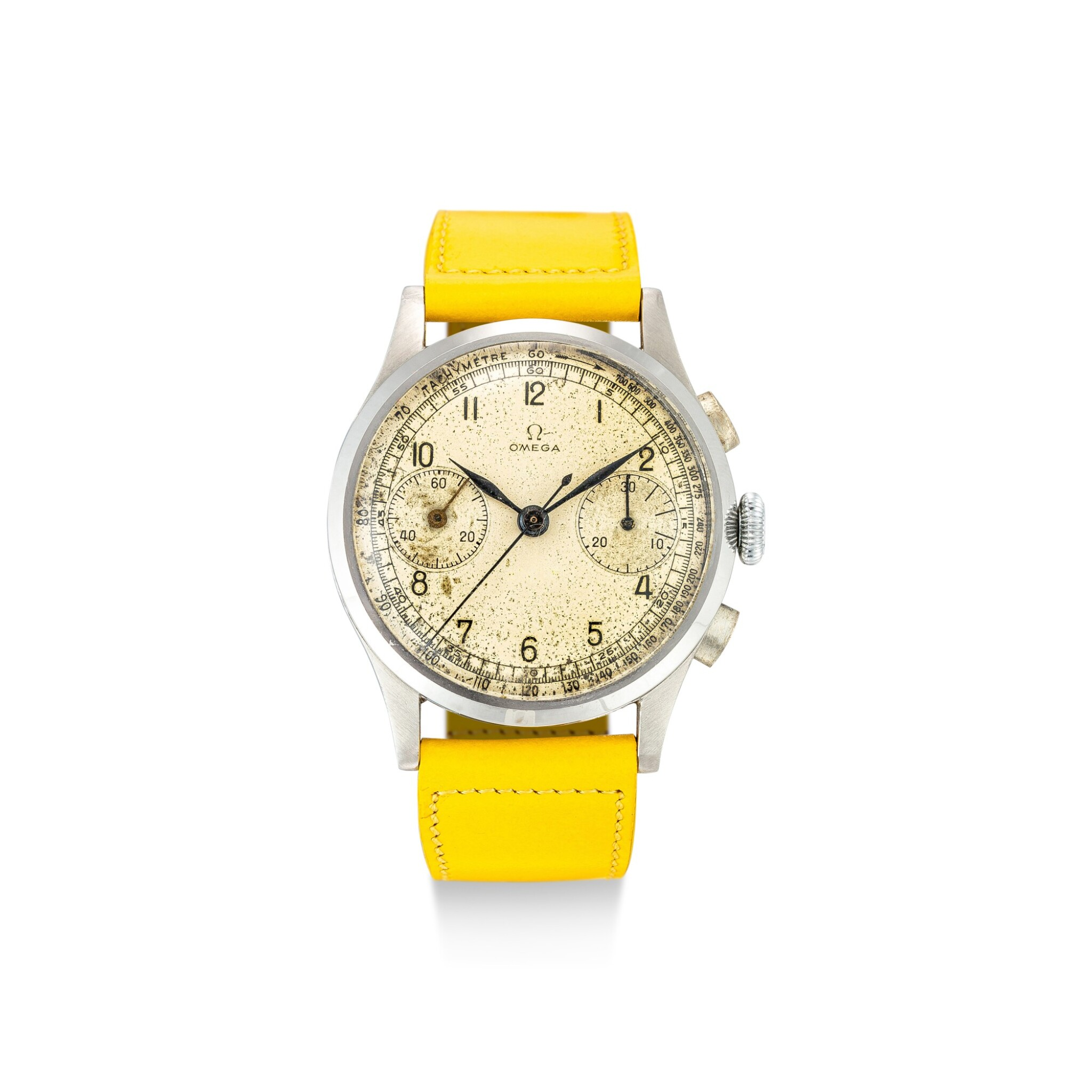 View full screen - View 1 of Lot 120. OMEGA | REFERENCE 987 A STAINLESS STEEL CHRONOGRAPH WRISTWATCH, CIRCA 1948.