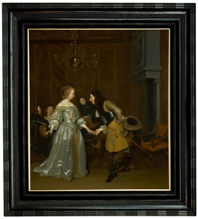 View 2. Thumbnail of Lot 150. 'The Introduction', or An officer making his bow to a lady.