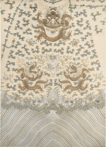 A PALE YELLOW-GROUND SILK EMBROIDERED 'DRAGON' PANEL FOR A ROBE, LATE QING DYNASTY