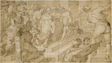 View 1. Thumbnail of Lot 50. The meeting of two Kings in front of a Cardinal and congregation      .