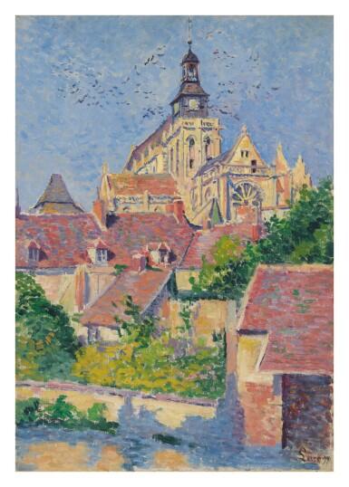 View 1. Thumbnail of Lot 4. MAXIMILIEN LUCE   LA CATHÉDRALE DE GISORS VUE DU FOSSÉ AUX TANNEURS.