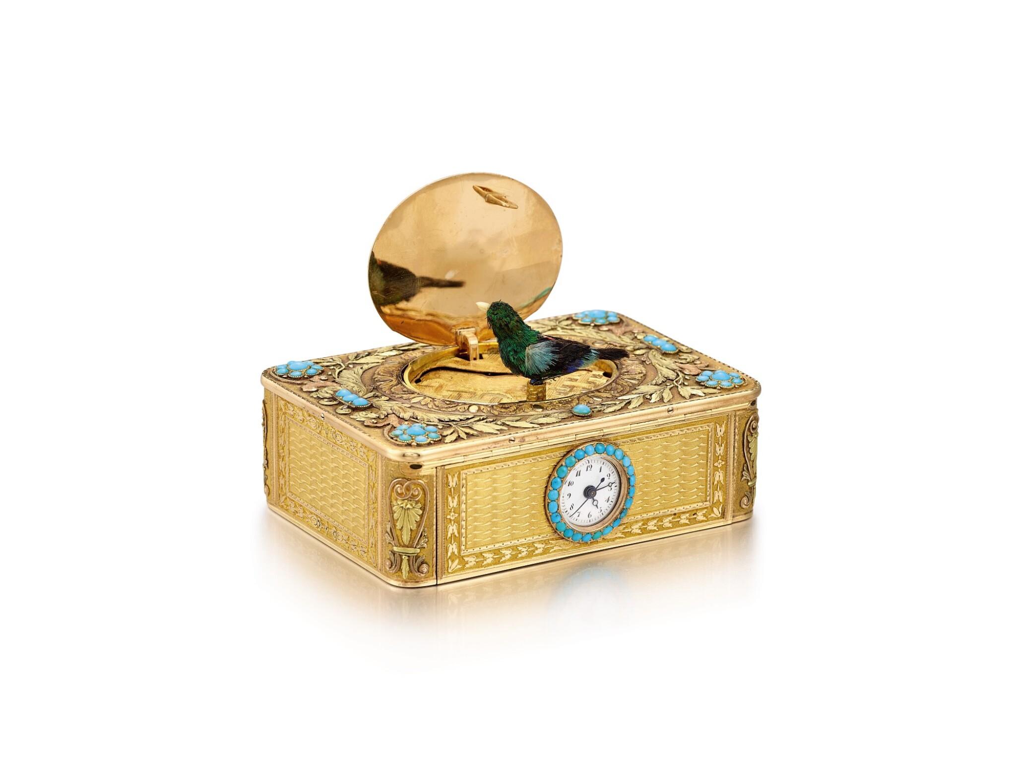 "View full screen - View 1 of Lot 2092. LES FRÈRES ROCHAT   NO 181, A VARI-COLOUR GOLD AND TURQUOISE SINGING BIRD BOX WITH QUARTER REPEATING WATCH, CIRCA 1820   ""NO181 多色黃金鑲綠松石鳥鳴盒子,備大三針及二問鐘錶,約1820年製""."