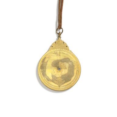 View 5. Thumbnail of Lot 67. A fine Safavid gilt-brass astrolabe made for Imam Mirza Razi al-Din Muhammad Husayni al-Mawsawi (d.1701), signed by Muhammad Husayn ibn Muhammad Baqir al-Yazdi, decorated by Muhammad Mahdi al-Yazdi, Persia, circa 1660.