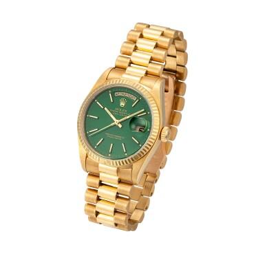 View 2. Thumbnail of Lot 54. 'Stella' Day-Date, Ref. 18038 Yellow gold wristwatch with day, date, bracelet and green 'stella' dial Circa 1988   勞力士18038型號「'Stella' Day-Date」黃金鍊帶腕錶備星期、日期顯示及綠色 Stella 錶盤,年份約1988.