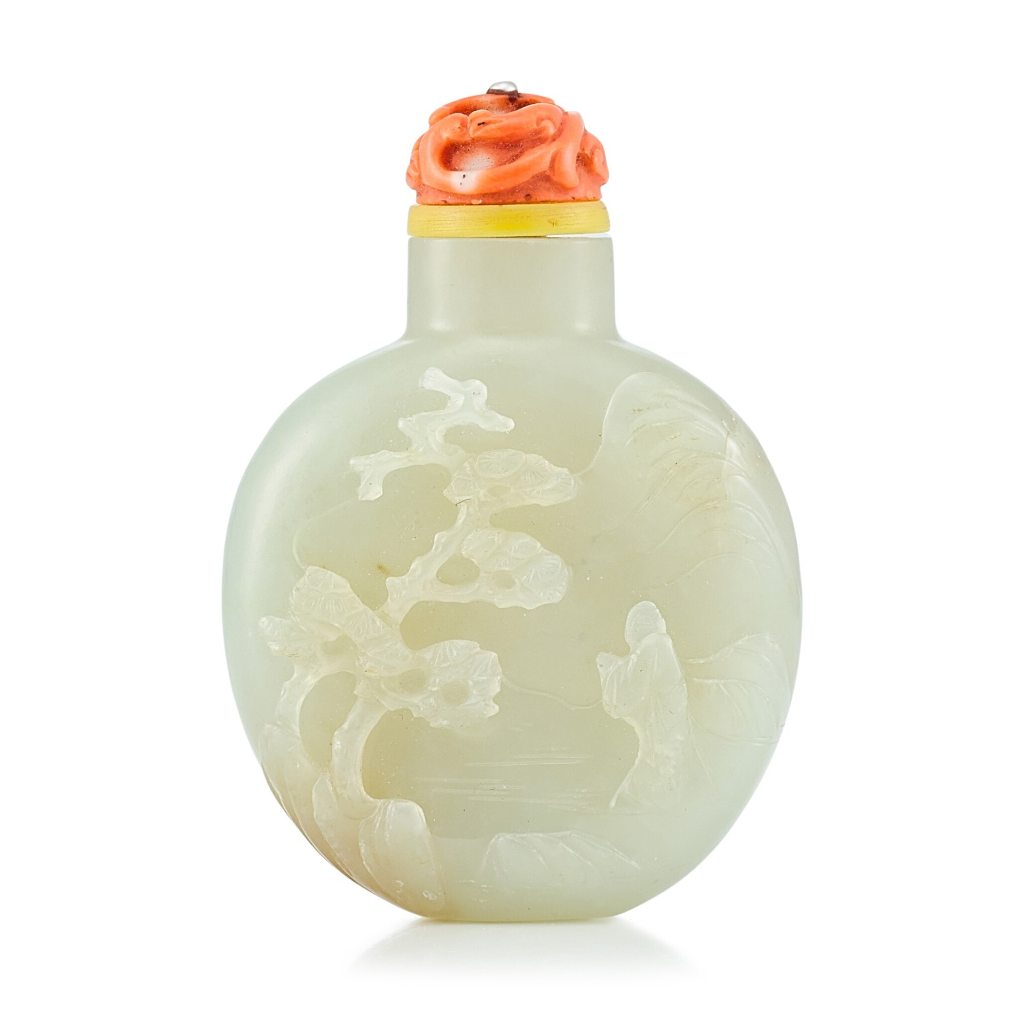 View full screen - View 1 of Lot 3057. A Pale Green Jade 'Scholar' Snuff Bottle Qing Dynasty, 18th - 19th Century | 清十八至十九世紀 青白玉高士圖鼻煙壺.