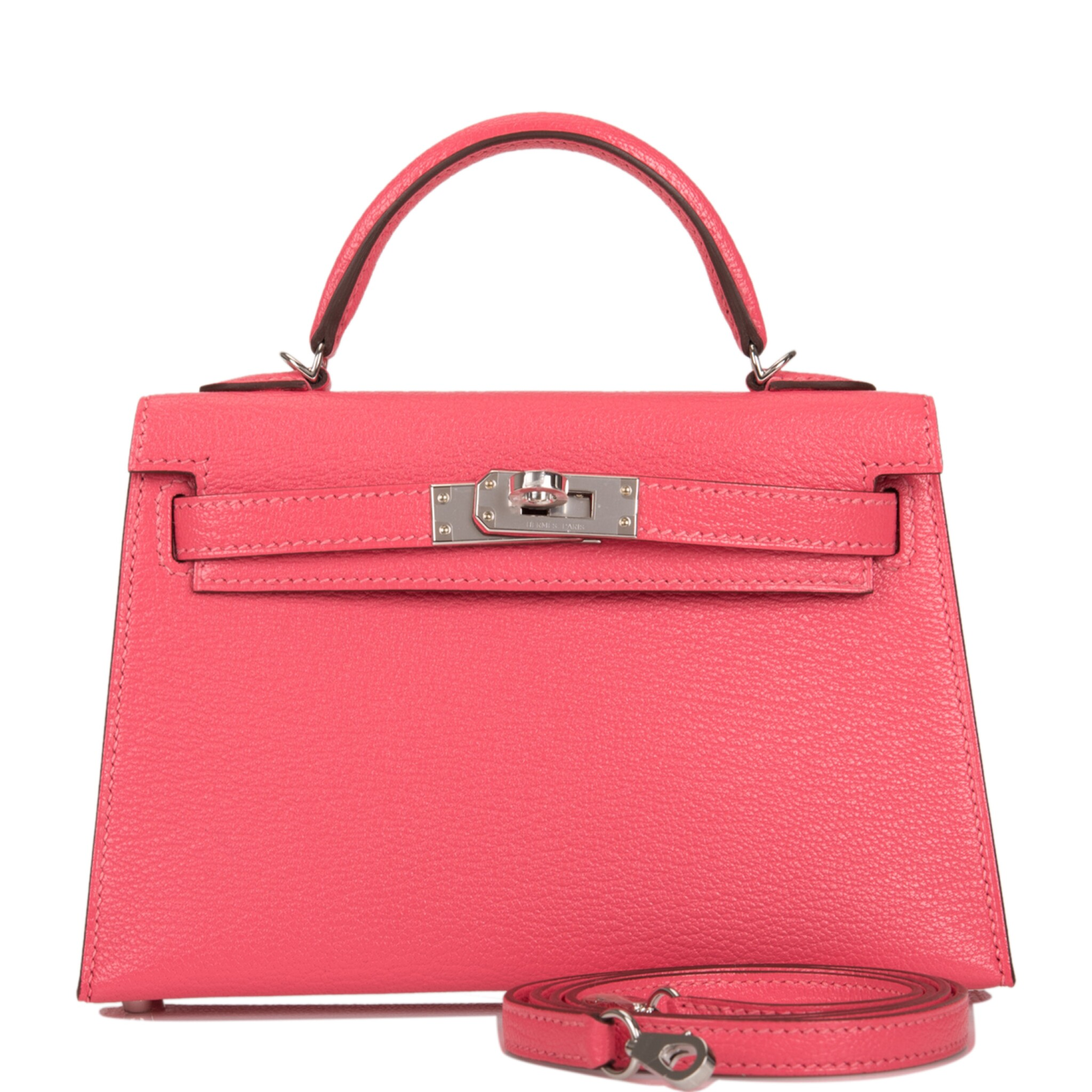View full screen - View 1 of Lot 29. HERMÈS   ROSE LIPSTICK SELLIER KELLY 20CM OF CHEVRE LEATHER WITH PALLADIUM HARDWARE.