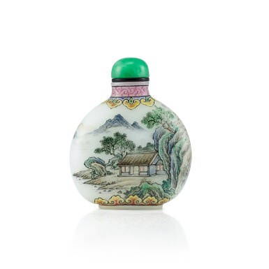 View 1. Thumbnail of Lot 3011. An Enamel on White Glass 'Landscape' Snuff Bottle By Wang Xisan, Circa 1962-65 | 約1962-65年 王習三作料胎畫琺瑯山水圖鼻煙壺 《乾隆年製》仿款.