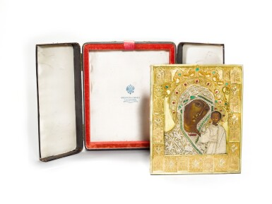 View 4. Thumbnail of Lot 244. A rare jewelled and pearl-set silver-gilt icon of the Kazanskaya Mother of God, maker's mark Karl Sievers, retailed by Sazikov, St Petersburg, 1864.