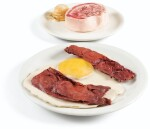 Bacon and Egg; Ice Cream, and Beef Steak