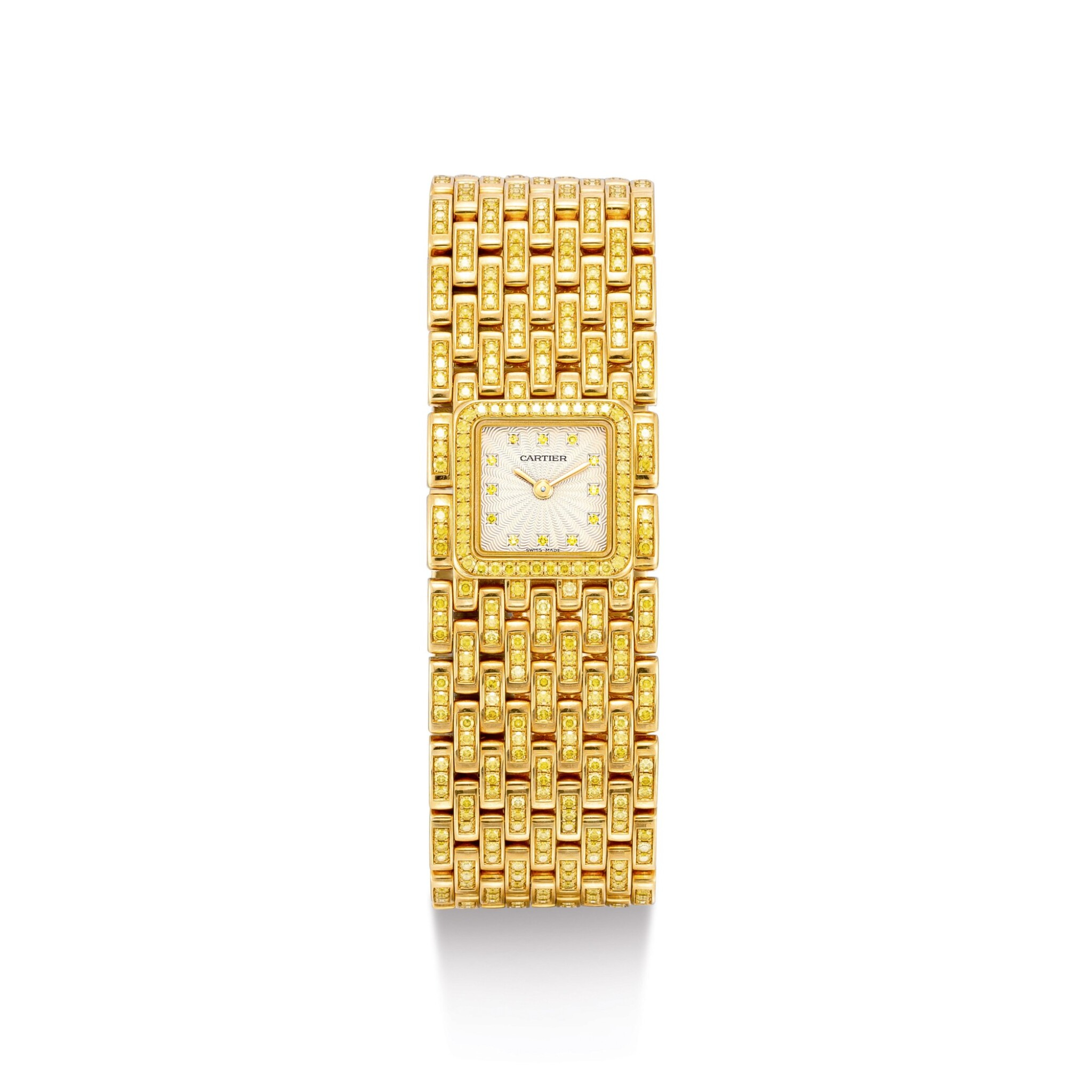 """View full screen - View 1 of Lot 2053. CARTIER   PANTHÉRE, REFERENCE 2449, A UNIQUE YELLOW GOLD AND YELLOW DIAMOND-SET BRACELET WATCH, MADE ON SPECIAL REQUEST, CIRCA 2000   卡地亞   """"Panthére 型號2449 獨一無二黃金鑲黃鑽石鏈帶腕錶,為特殊訂製,錶殼編號99851CD,約2000年製""""."""